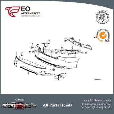 Rear Bumper Face For 2016-17 Honda Accord Sedan EX, EX-L, LX 71501-T2F-A50ZZ