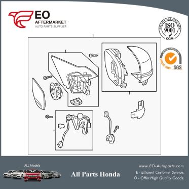 Mirror Assembly R For 2017 Honda Accord Coupe EX, EX-L, EXL-V6 76200-T3L-A91ZD