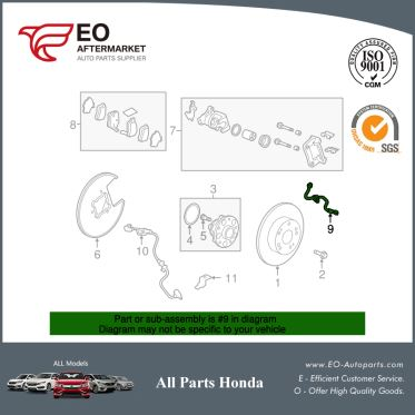 Rear Hydraulic Brake Hose & Lines For 2008-12 Honda Accord Coupe & Seden 01466-TA0-A00