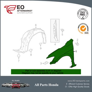 Panel Right Front Fender For 2013-17 Honda Accord Coupe EX, EX-L 60211-T3L-A90ZZ